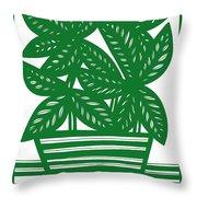 Lagoa Plant Leaves Green White Throw Pillow