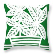 Stole Plant Leaves Green White Throw Pillow