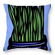 Chrisler Plant Leaves Blue Green Red Throw Pillow