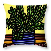 Rueck Plant Leaves Yellow Green Red Throw Pillow