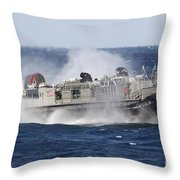 A Landing Craft Air Cushion Transits Throw Pillow