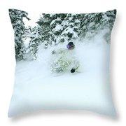 A Man Skiing In Powder Near South Lake Throw Pillow
