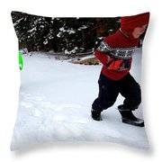 A Young Boy And Mother Sledding Throw Pillow