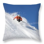A Young Man Skis Untracked Powder Throw Pillow