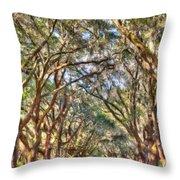Plantation Allee Of Oaks Throw Pillow