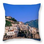 Amalfi Town In Italy Throw Pillow by George Atsametakis