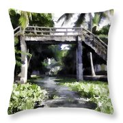 An Old Stone Bridge Over A Canal Throw Pillow
