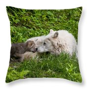 Arctic Wolf Pup Throw Pillow