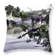 Ducks And Flowers In Lagoon Water Throw Pillow