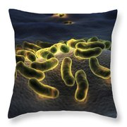 Escherichia Coli Bacteria Throw Pillow