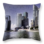 Financial District Of Singapore And View Of The Water In Singapore Throw Pillow