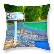 8 Hole Sign On  Golf Course Throw Pillow