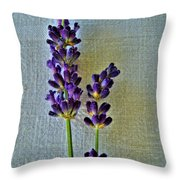 Lavender On Linen Throw Pillow