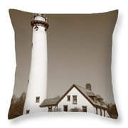 Lighthouse - Presque Isle Michigan Throw Pillow