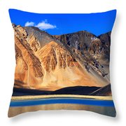 Mountains Pangong Tso Lake Leh Ladakh Jammu And Kashmir India Throw Pillow
