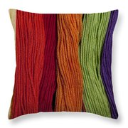 Multicolored Embroidery Thread In Rows Throw Pillow