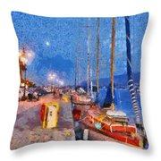 Mytilini Port Throw Pillow