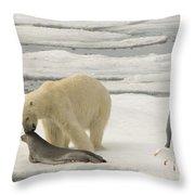 Polar Bear With Fresh Kill Throw Pillow