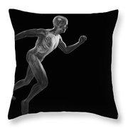 Running Male Figure Throw Pillow