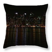 San Diego Skyline Night Throw Pillow
