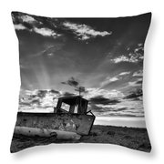 Stunning Black And White Image Of Abandoned Boat On Shingle Beac Throw Pillow by Matthew Gibson