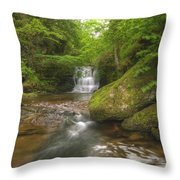 Stunning Waterfall Flowing Over Rocks Through Lush Green Forest  Throw Pillow