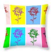 8 Warhol Roses By Punt Throw Pillow