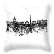 Washington Dc Skyline In Watercolor On White Background Throw Pillow