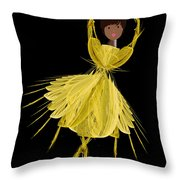 8 Yellow Ballerina Throw Pillow