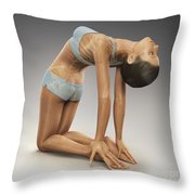 Yoga Camel Pose Throw Pillow