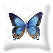 80 Imperial Blue Butterfly Throw Pillow by Amy Kirkpatrick