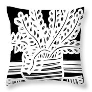 Schwiebert Plant Leaves Black And White Throw Pillow