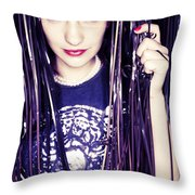 80's Retro Funky Girl Portrait Throw Pillow by Eldad Carin