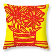 Famished Flowers Black And White Throw Pillow