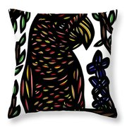 Zeccardi Parrot Brown Green Black Throw Pillow
