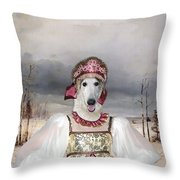 Borzoi - Russian Wolfhound Art Canvas Print Throw Pillow