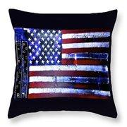 9-11 Flag Throw Pillow
