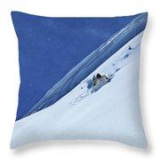 A Athletic Skier Rips Fresh Deep Powder Throw Pillow