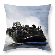 A Landing Craft Air Cushion Transits Throw Pillow
