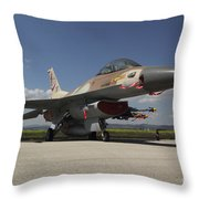 An F-16c Barak Of The Israeli Air Force Throw Pillow
