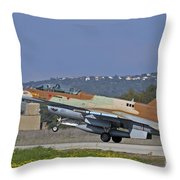 An F-16d Barak Of The Israeli Air Force Throw Pillow