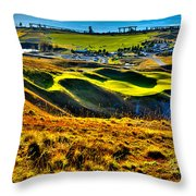#9 At Chambers Bay Golf Course - Location Of The 2015 U.s. Open Tournament Throw Pillow by David Patterson
