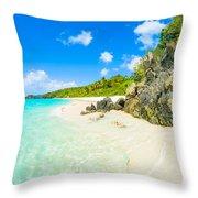 Beautiful Caribbean Beach Throw Pillow
