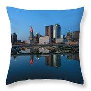 Fx2l-508 Columbus Ohio Skyline Photo Throw Pillow