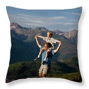 Family Hiking Throw Pillow