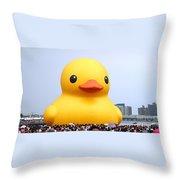 Giant Rubber Duck Visits Taiwan Throw Pillow