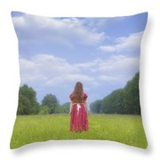 Girl On Meadow Throw Pillow