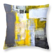 Busy Busy - Grey And Yellow Abstract Art Painting Throw Pillow