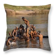 Hampi Ghats Throw Pillow