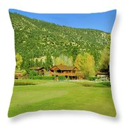 9-hole Golf Course In Autumn At Pine Throw Pillow